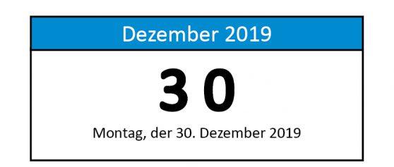 30. Dezember 2019